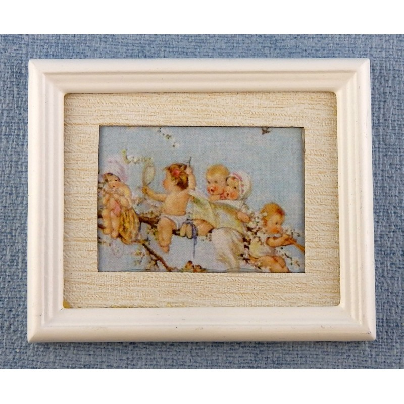 Melody Jane Dolls House Miniature Accessory Babies Branch Painting White Frame