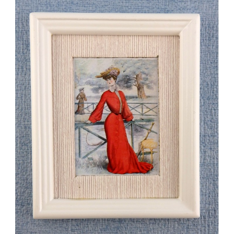 Dolls House Miniature Accessory Lady in Red Painting White Frame