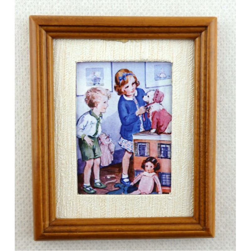 Dolls House Miniature Accessory The Playroom Picture Painting in Walnut Frame