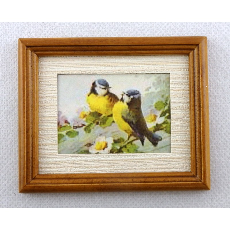 Dolls House Miniature Accessory Blue Tit Birds Picture Painting in Walnut Frame