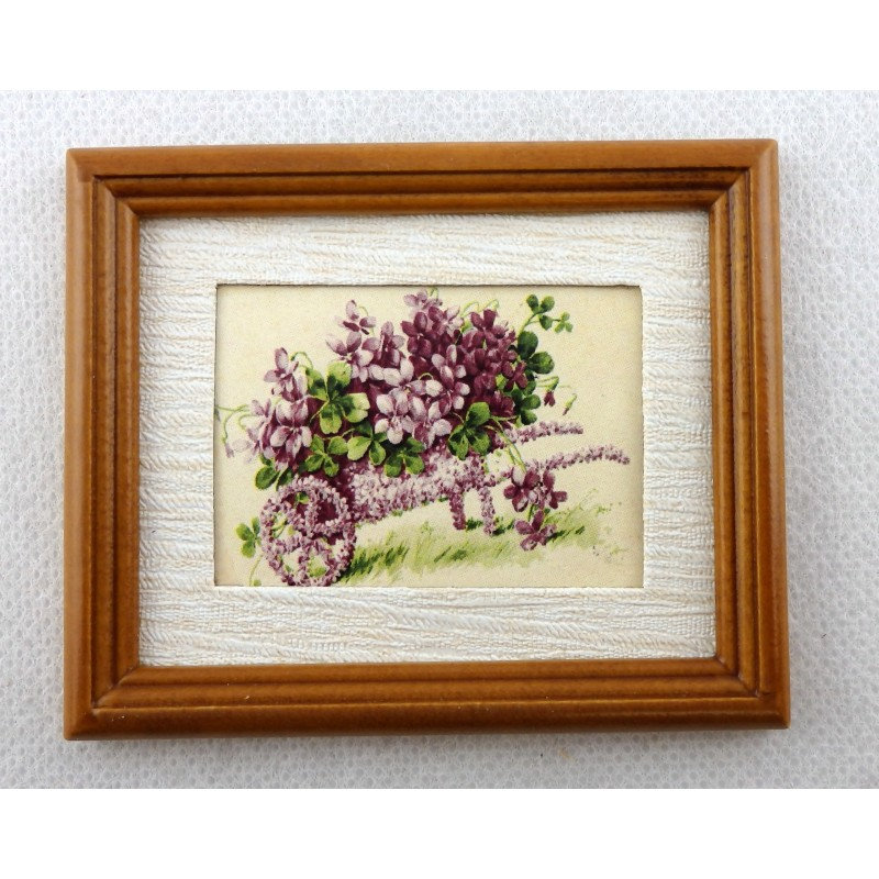 Dolls House Wheelbarrow of Violets Picture in Walnut Frame Miniature Accessory