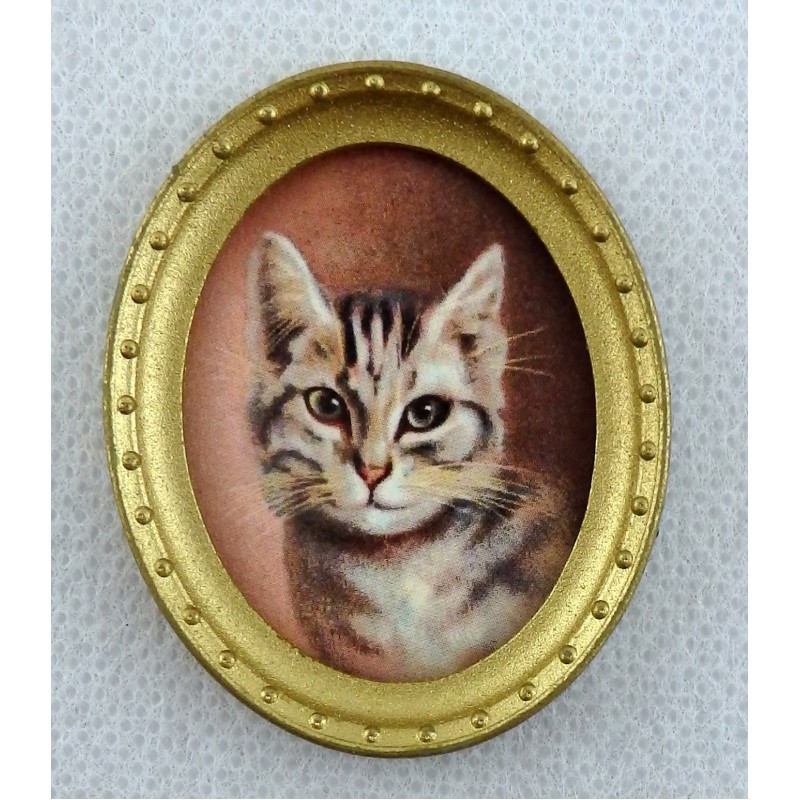 Dolls House Miniature Accessory Cat Portrait Picture Painting in Oval Gold Frame