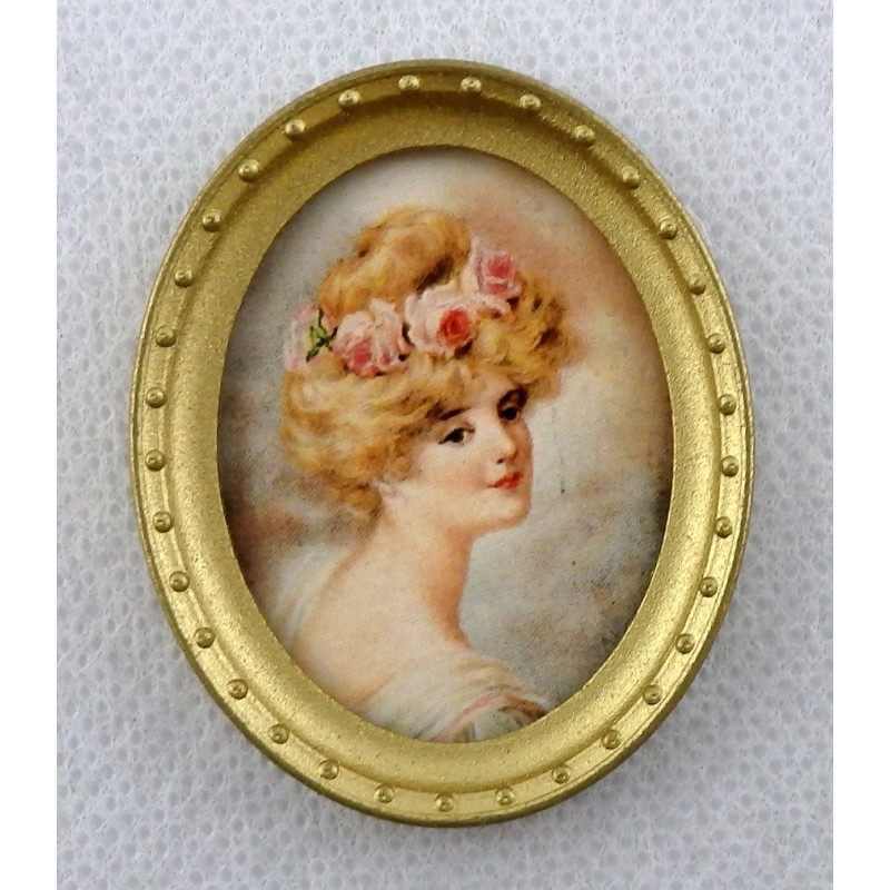 Dolls House Miniature Accessory Lady Portrait Picture in Oval Gold Frame B