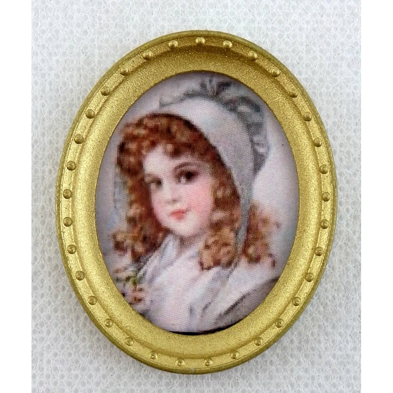 Dolls House Miniature Accessory Young Girl Portrait Picture in Oval Gold Frame A