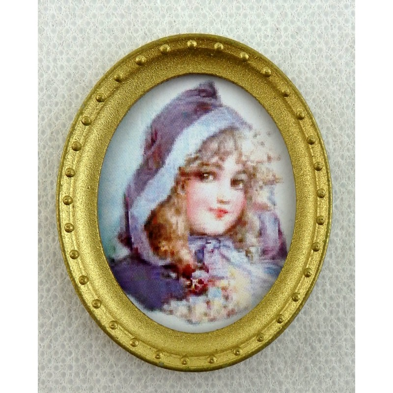 Dolls House Miniature Accessory Young Girl Portrait Picture in Oval Gold Frame B