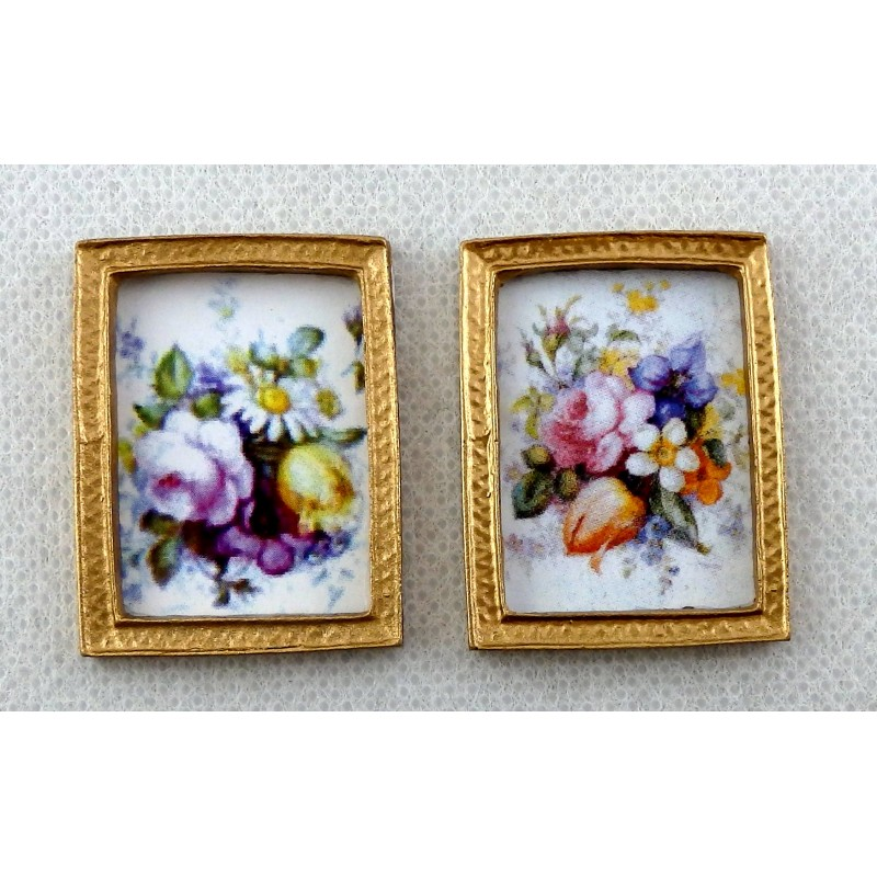 Melody Jane Dolls House Miniature Accessory 2 Flower Paintings in Gold Frames