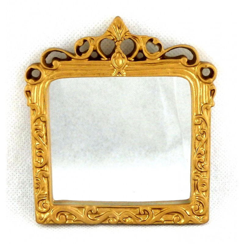 Dolls House Miniature Accessory Ornate Mantle Mirror in Gold Frame 1:12 Scale