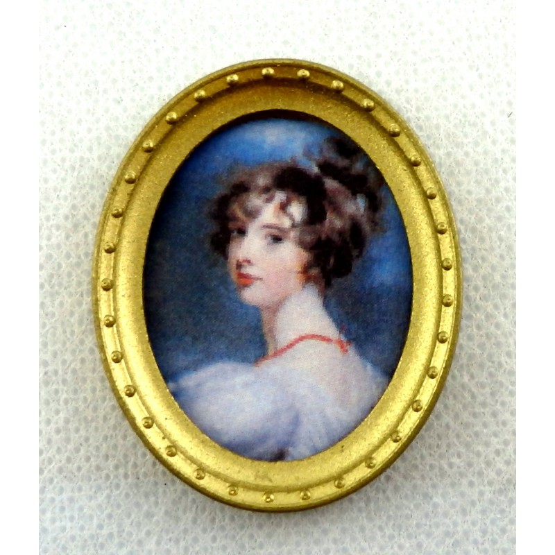 Dolls House Miniature Accessory Lady Portrait Picture in Oval Gold Frame A