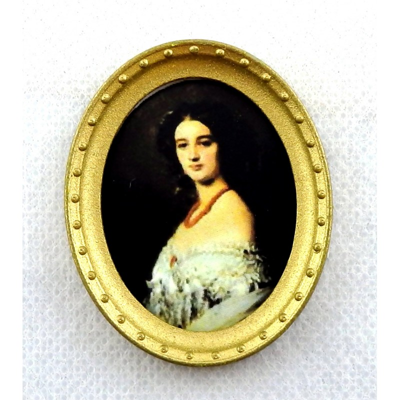 Melody Jane Dolls House Miniature Georgian Lady Portrait Picture Oval Gold Frame