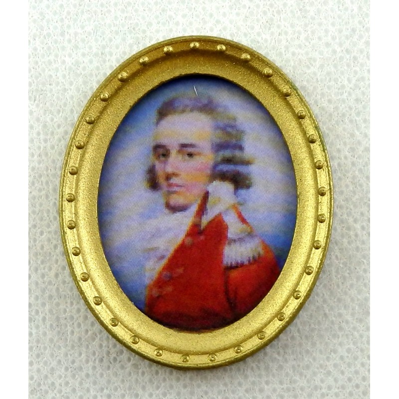 Melody Jane Dolls House Miniature Gentleman Portrait Picture in Oval Gold Frame