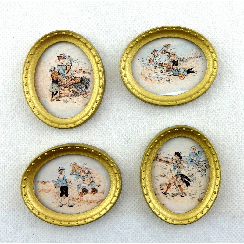 Dolls House Miniature Accessory Edwardian Beach Scene Pictures Oval Gold Frames