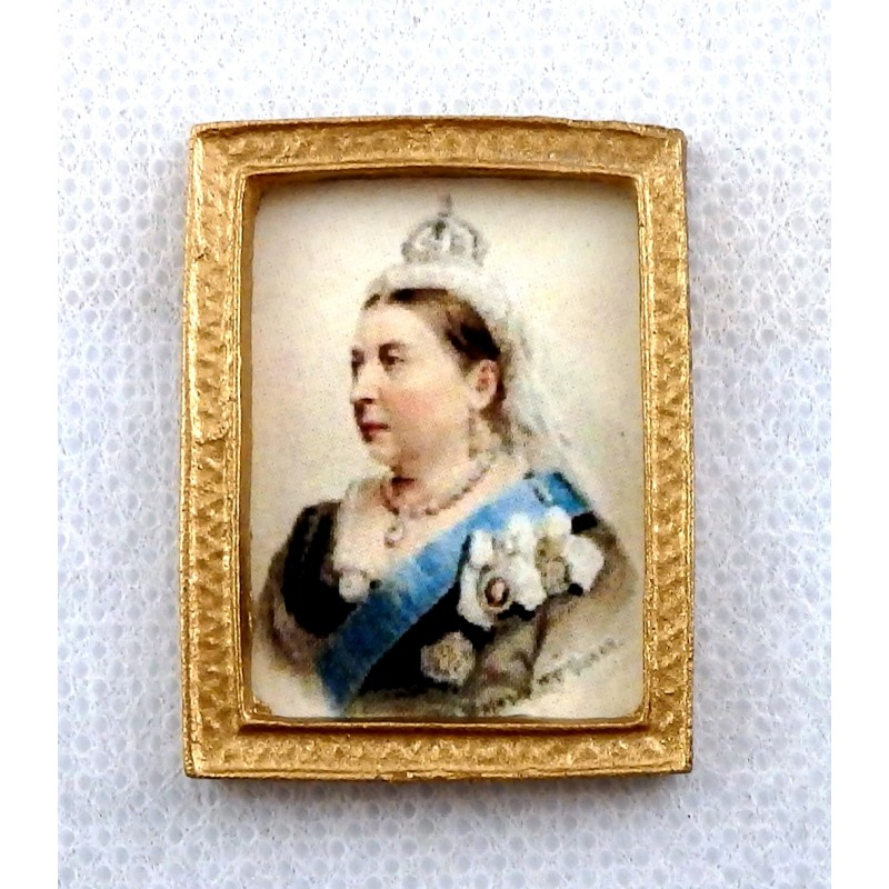 Dolls House Miniature Accessory Queen Victoria Portrait Picture in Gold Frame