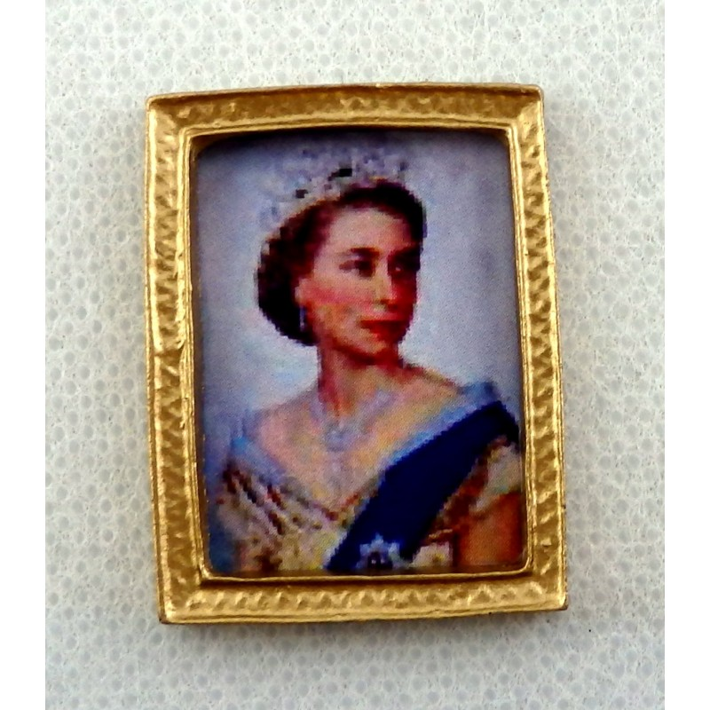 Dolls House Miniature Accessory Queen Elizabeth II Portrait Picture Gold Frame
