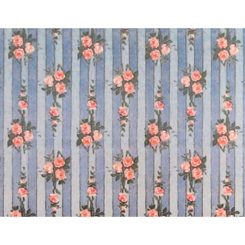 Dolls House Miniature Print 1:12 Pink Rose on Blue Stripe Wallpaper