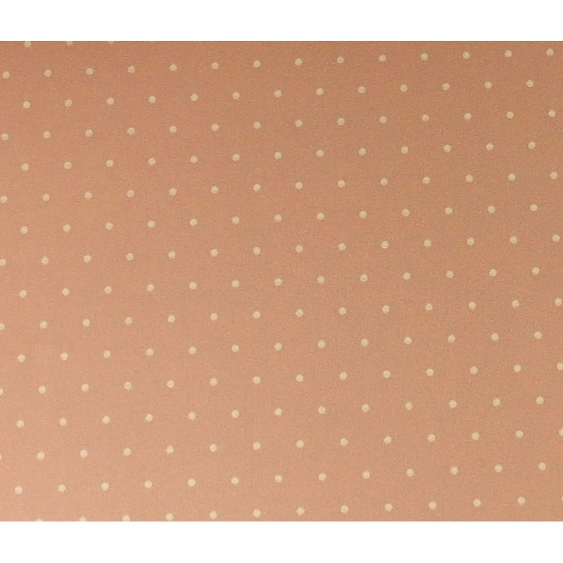 Dolls House Miniature Print Pasted Wallpaper Polka Dot Sandy Pink