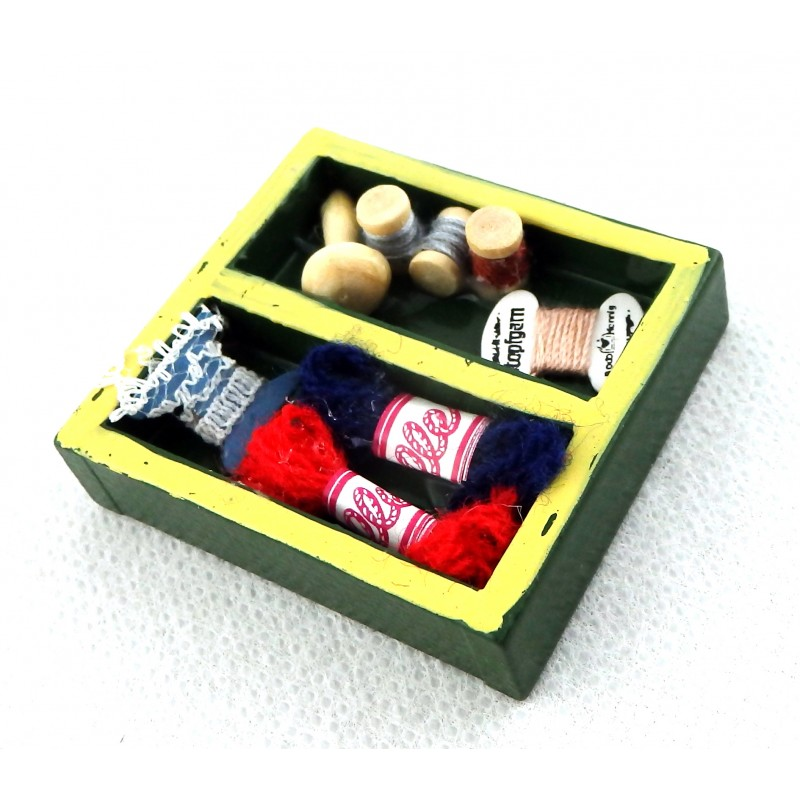 Dolls House Sewing Room Box of Needlework Miniature Haberdashery Accessory