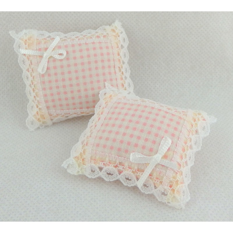 Dolls House Miniature 1:12 Scale Accessory Lace trimmed Pink Gingham Cushions