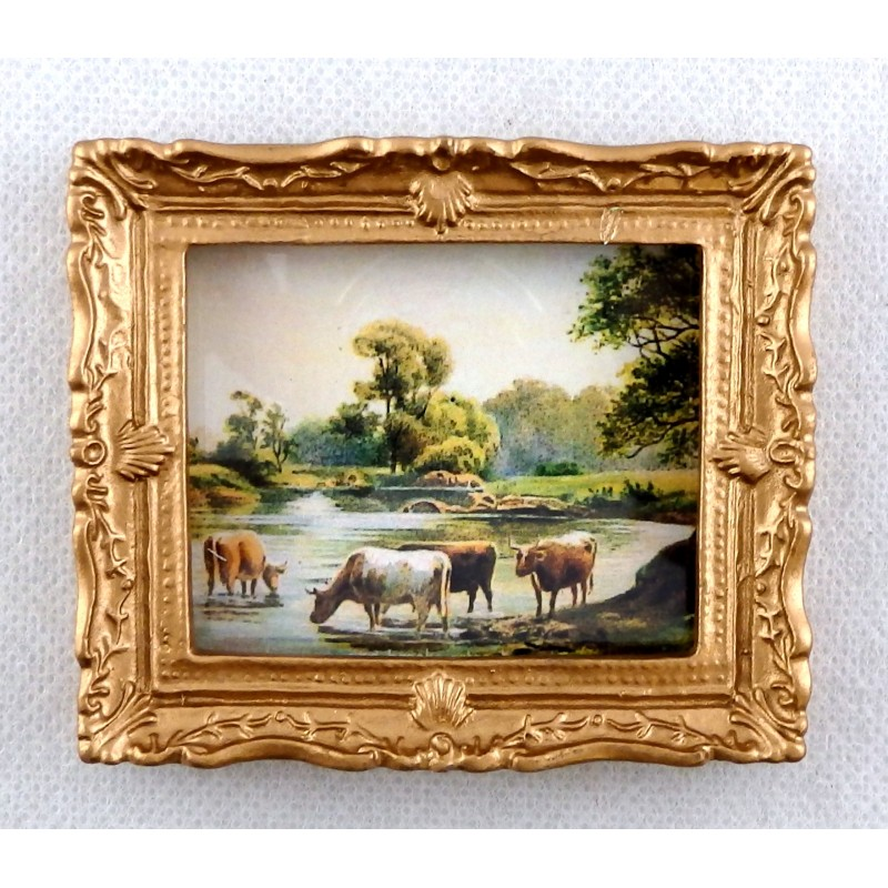 Dolls House Miniature Accessory Grazing Cattle Scene Picture Painting Gold Frame