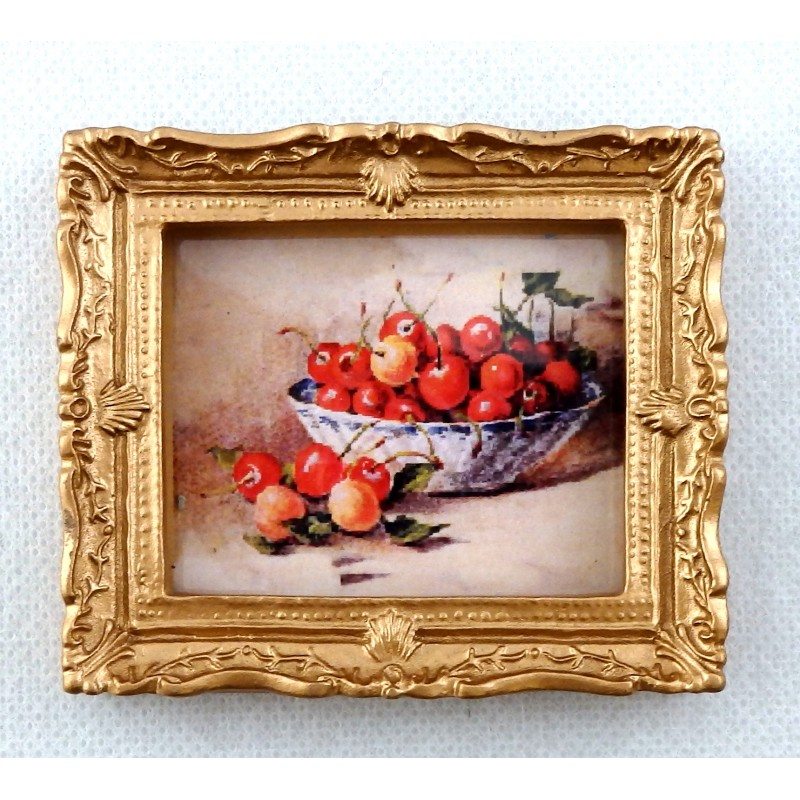 Dolls House Miniature Accessory Bowl of Cherries Picture Painting in Gold Frame