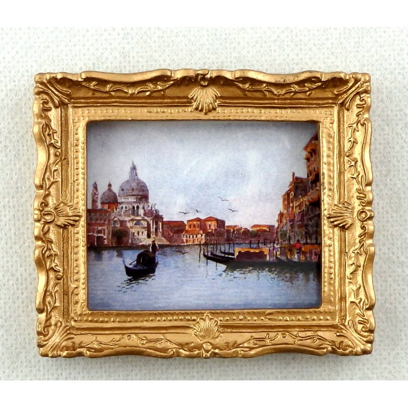Dolls House Miniature Venice Canal Scene Picture Painting Gold Frame