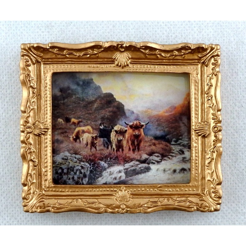 Dolls House Miniature Accessory Highland Cattle Picture Painting Gold Frame