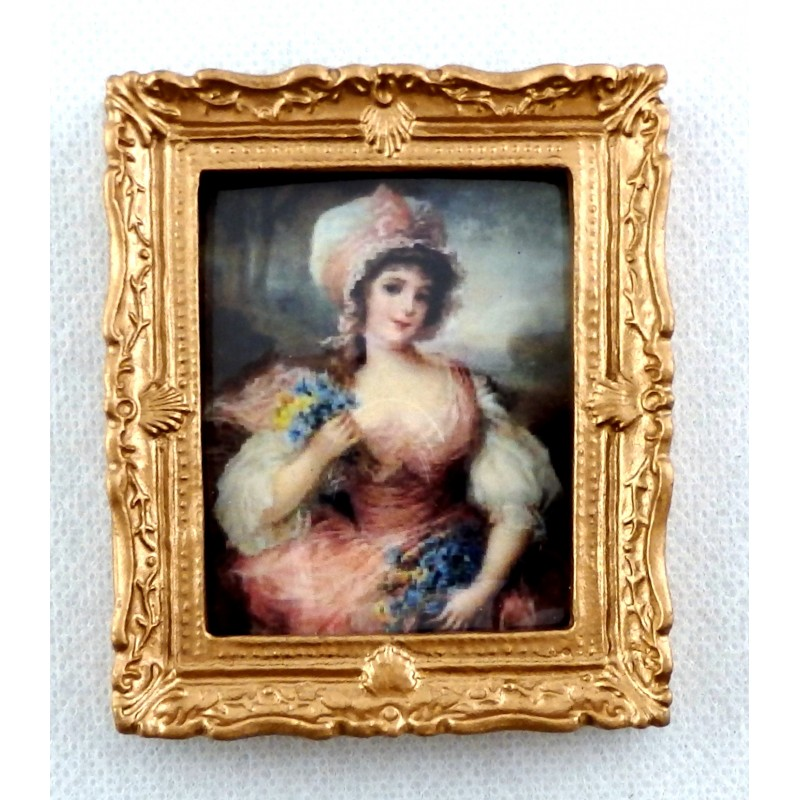 Dolls House Miniature Accessory Lady in Pink Picture Painting Gold Frame