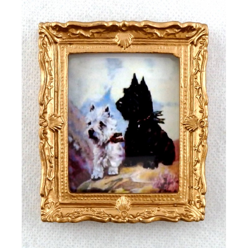 Dolls House West Highland Terriers Painting in Gold Frame Miniature Accessory