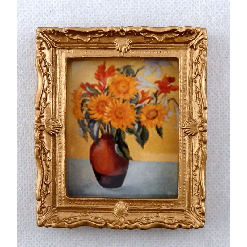 Dolls House Miniature Accessory Vase of Sunflowers Picture Painting Gold Frame