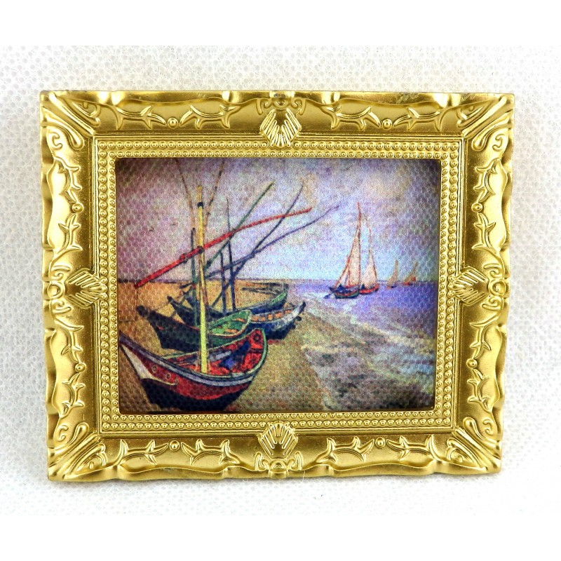 Dolls House Miniature Van Gogh Fishing Boats Picture Painting in Gold Frame