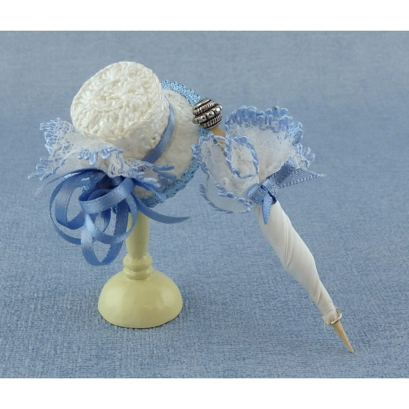 Dolls House Lady's Hat & Parasol Blue Miniature Millinery Shop Doll Accessory