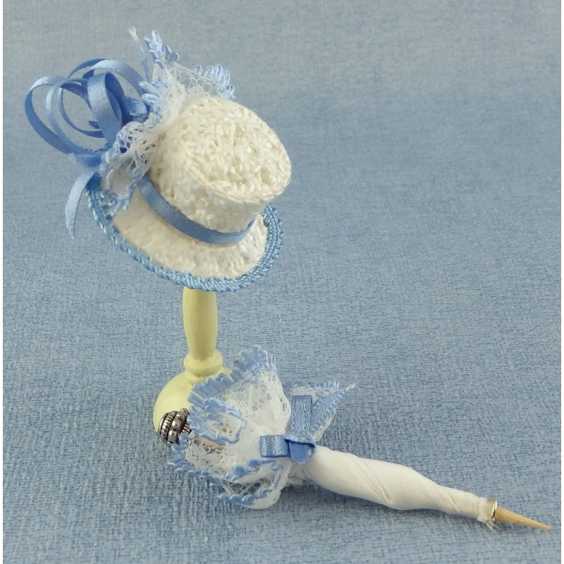 Dolls House Miniature Millinery Shop Doll Accessory Lady's Hat & Parasol Blue