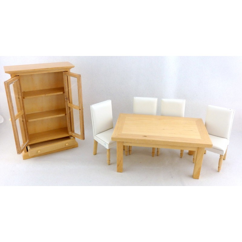 Dolls House Miniature Modern Light Oak Cream Leather Dining Room Furniture Set