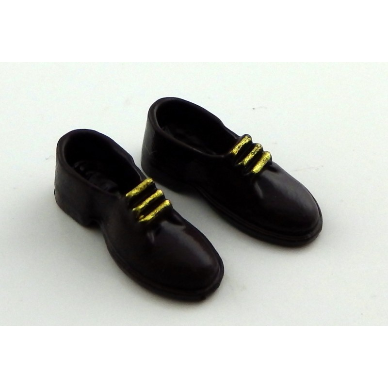 Dolls House Miniature Shop Bedroom Accessory Mens Brown Brogues Shoes Metal