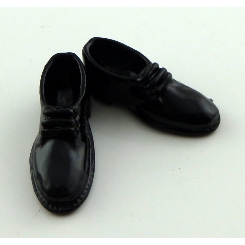 Dolls House Miniature Shop Bedroom Accessory Mens Black Brogues Shoes Metal