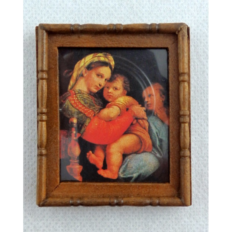 Dolls House Miniature Accessory Mother & Children Picture Painting Wooden Frame