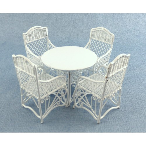 Garden Furniture White Wrought Iron Patio Set Table 4 Chairs