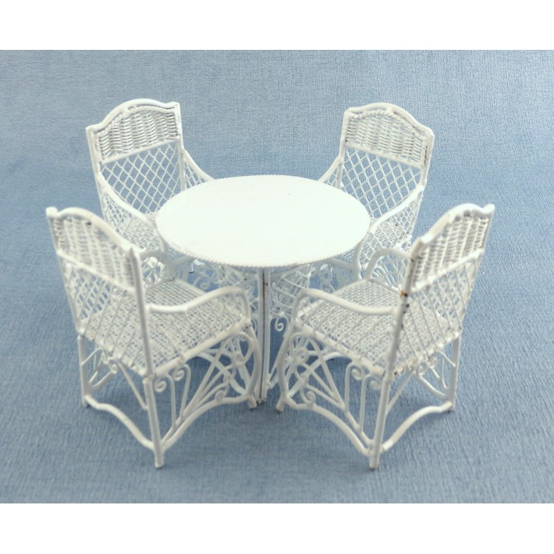 Dolls House Garden Furniture White Wrought Iron Patio Set Table 4 Chairs