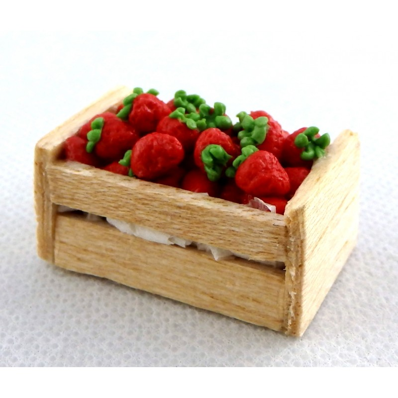Dolls House Miniature Wood Crate Box of Strawberries Shop Store Market Accessory
