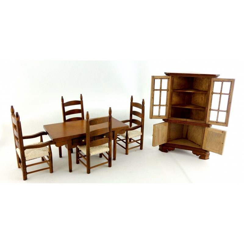 Dolls House Walnut Dining Room Furniture Set with Woven Seats & Corner Dresser