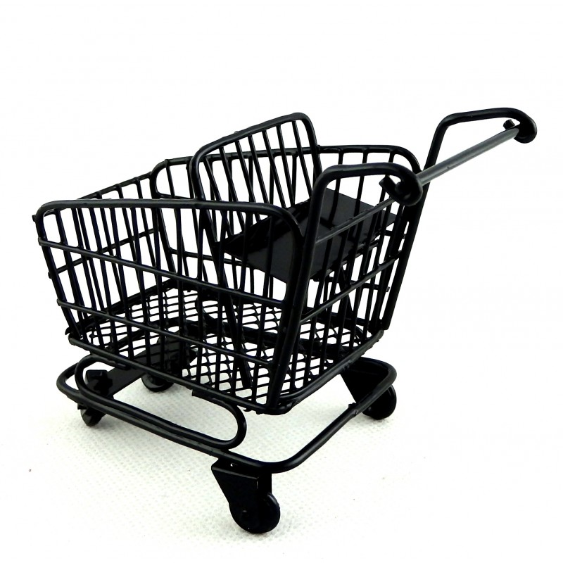 Dolls House Black Shopping Trolley Cart with Baby Seat Miniature Shop Accessory