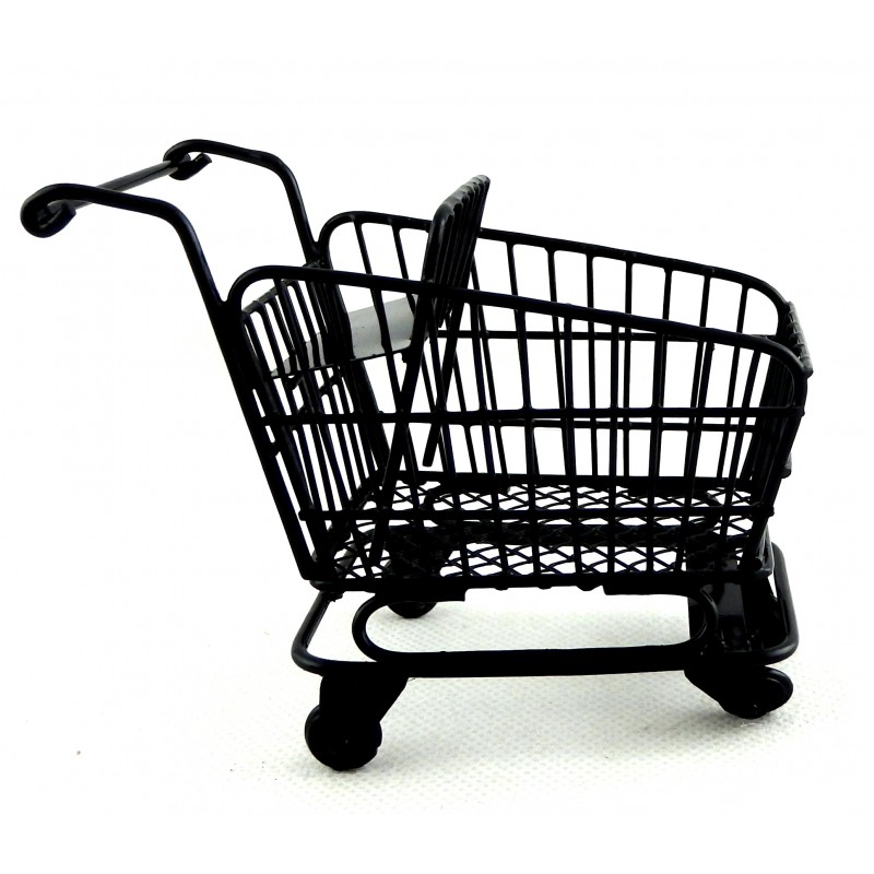 Dolls House Black Shopping Trolley Cart with Baby Seat 1:12 Shop Store Accessory