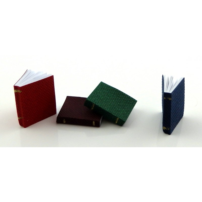 Dolls House Set 4 Bound Books with Pages Miniature 1:12 Scale Study School Library Accessory