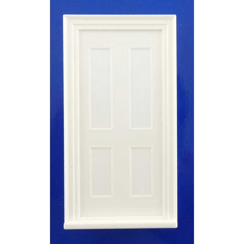 Dolls House 1:24 Classic White Plastic 4 Panel Door Half Inch Miniature
