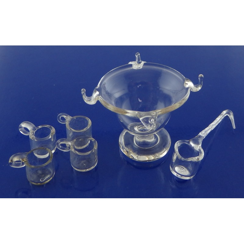 Dolls House Punch Bowl Mugs & Ladle Glass Miniature Dining Table Accessory