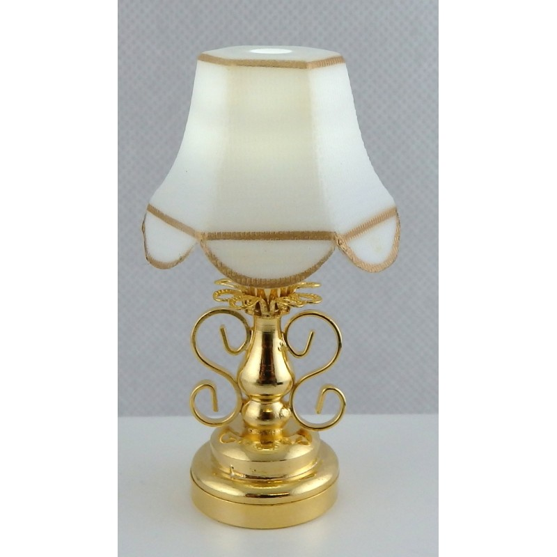 Dolls House Fancy Brass Table Lamp Classic Shade LED Battery Miniature Lighting