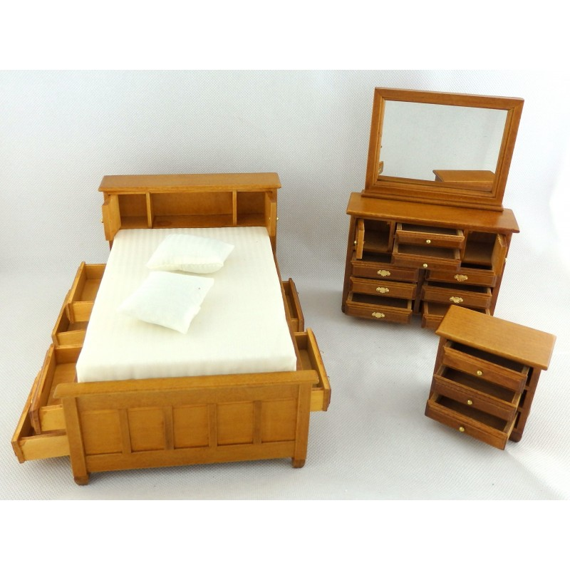 Dolls House Walnut Double Bedroom Furniture Set With Storage Drawers