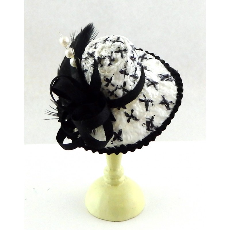 Dolls House Ladies Black White Hat w Feather Miniature Millinery Shop Accessory
