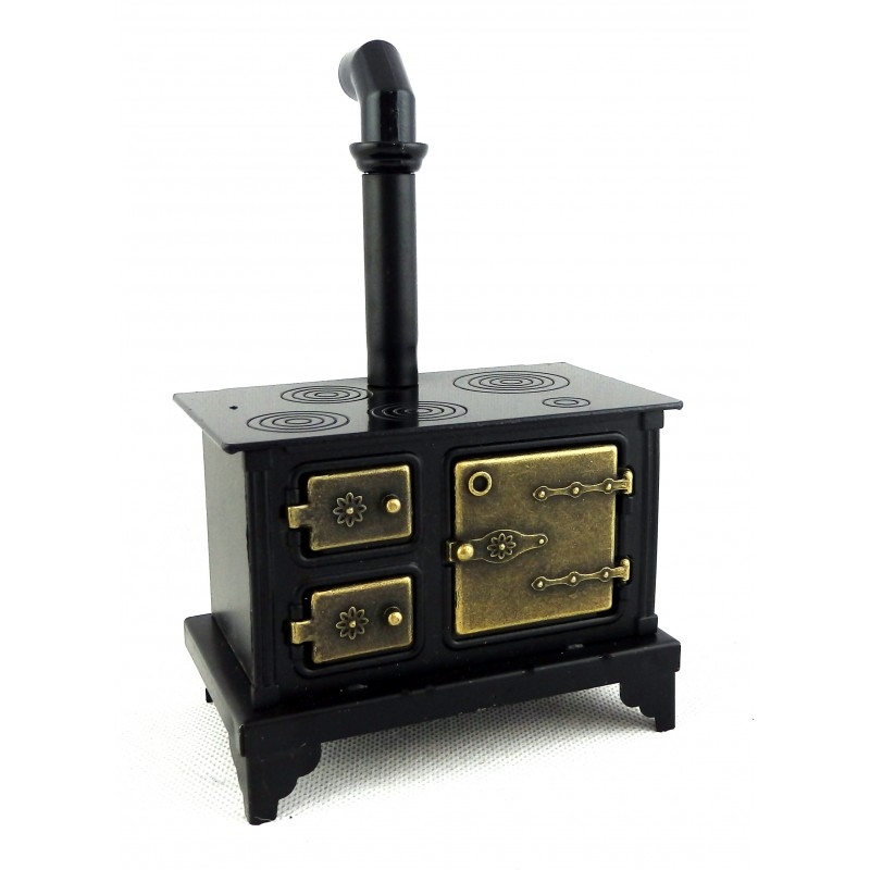 Dolls House Old Fashioned Black Metal Cooker Stove Miniature Kitchen Furniture
