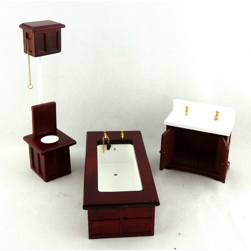 Dolls House Miniature Wooden Furniture Victorian Mahogany Bathroom Suite