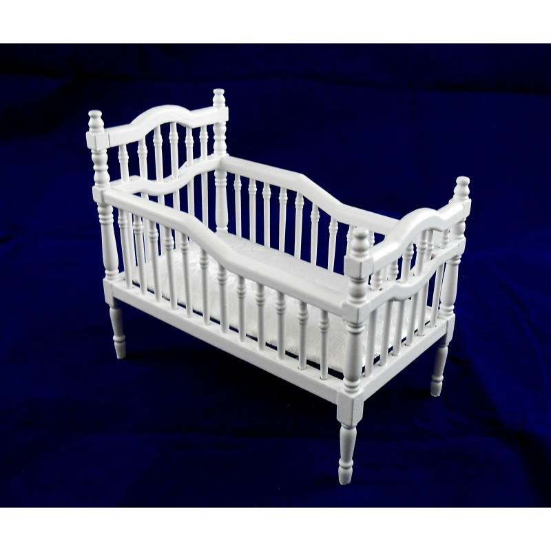 Dolls House Miniature Nursery Furniture White Victorian Baby Crib Cot